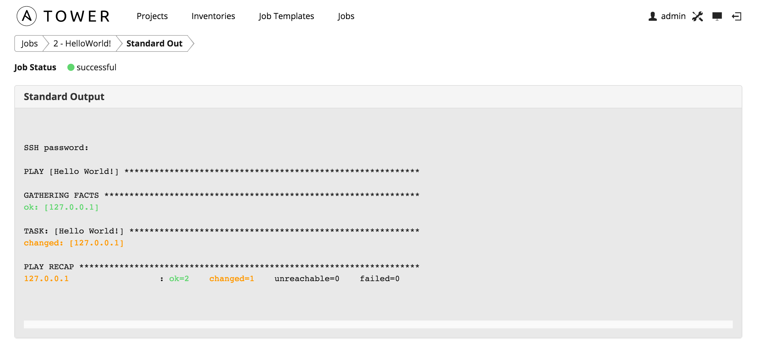 Ansible Tower - a Hello World Example -