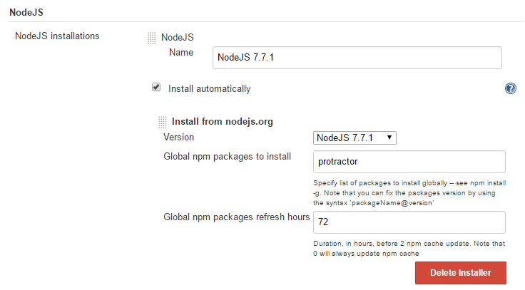 "Choose NodeJS, check ""Install automatically"" and specify Global npm packages to install: protractor"