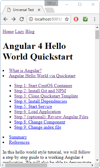 Angular 4: Automatic Table of Contents - Part 2: Adding Links -