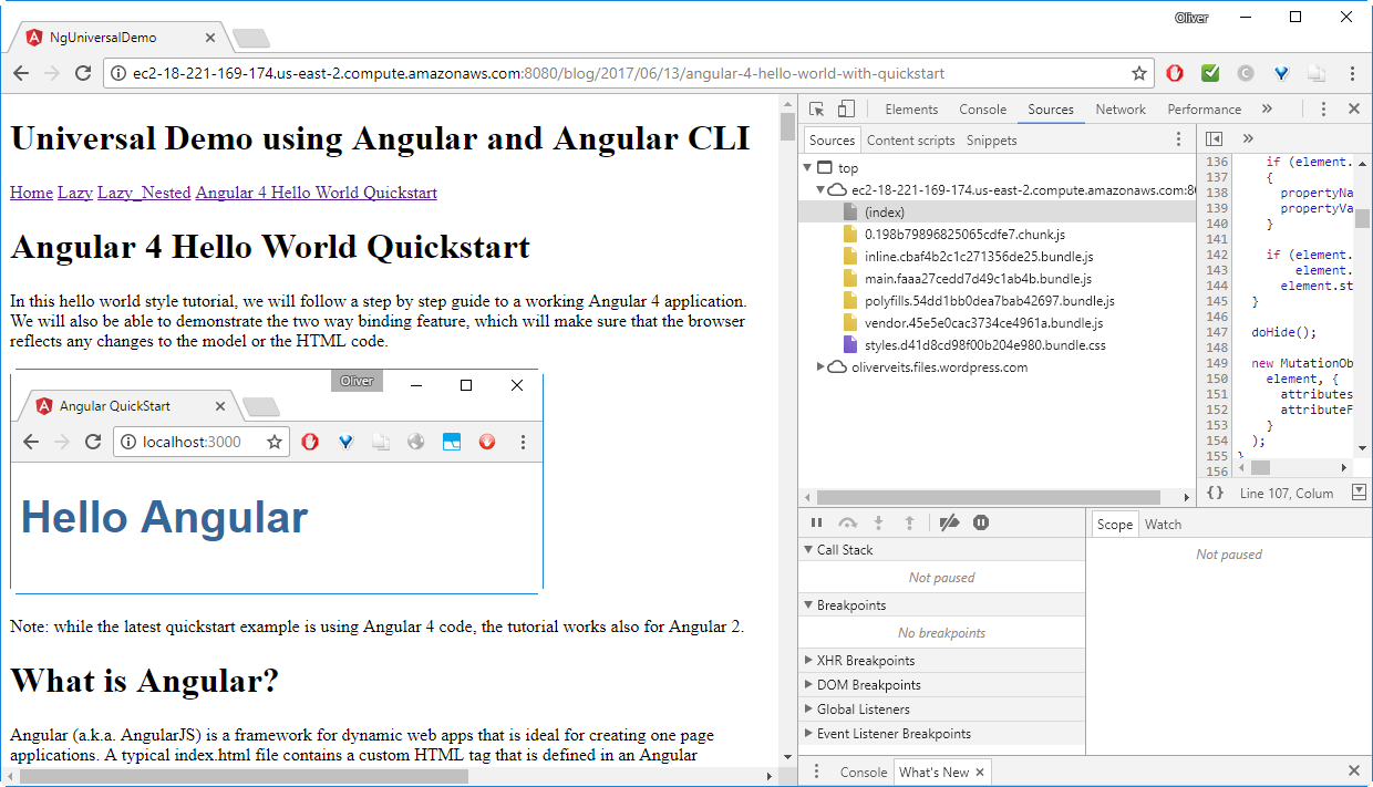 Angular Universal CLI - Step-by-Step Example with REST Client -