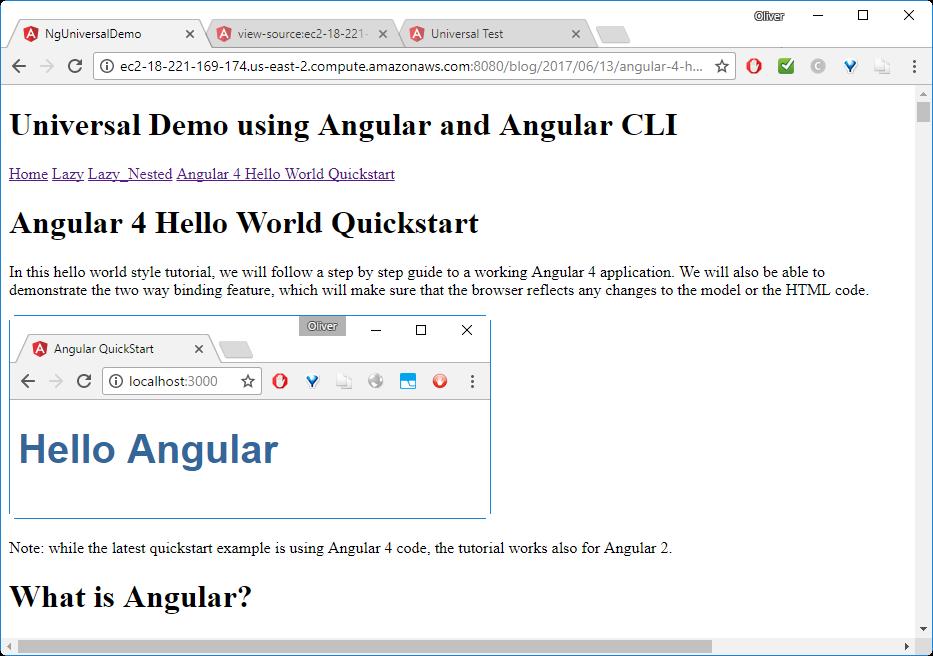 Angular Universal Docker Example (Angular 4 Universal CLI) -