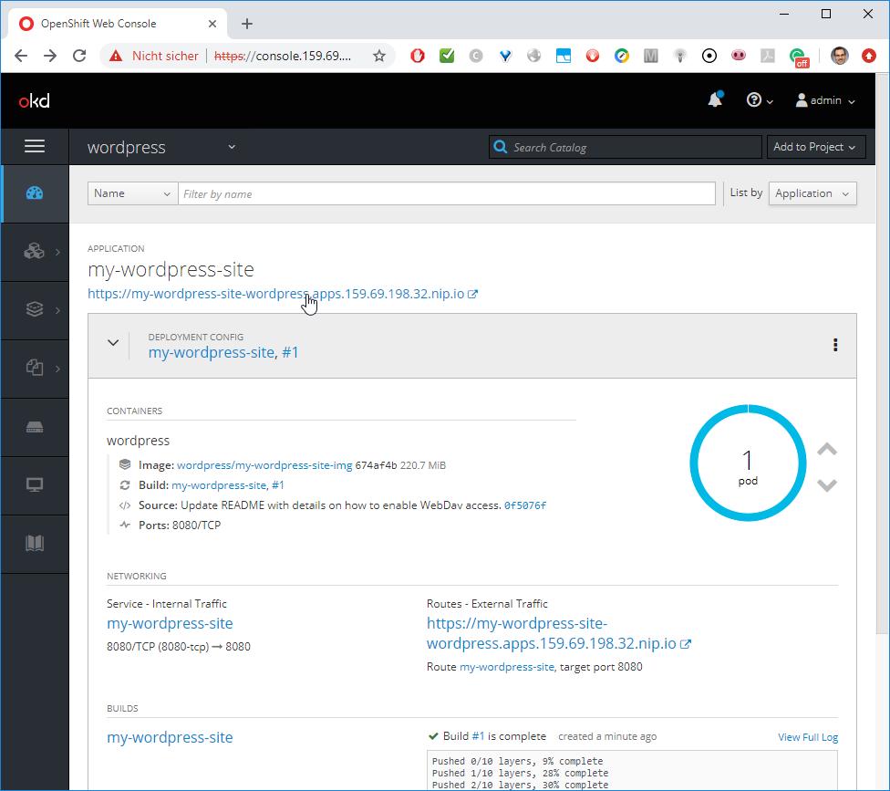 Installing WordPress via OpenShift -