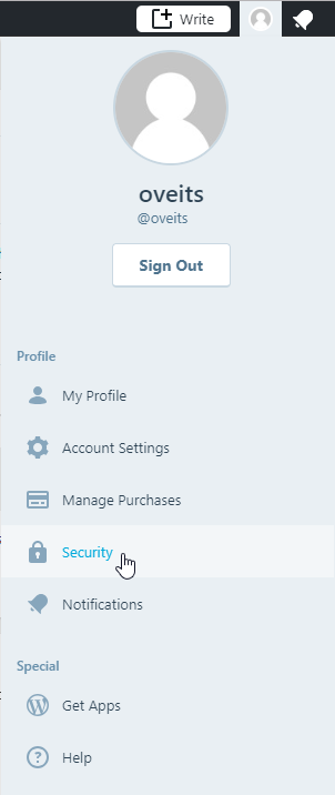 WordPress.com Profile -> Security