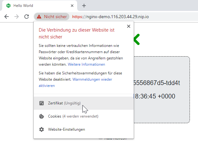 Viewing the certification information in the Chrome browser