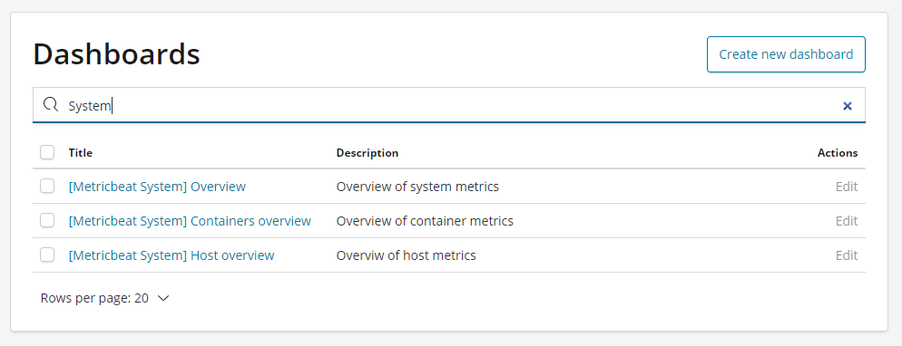 Search for Kibana System Dashboards