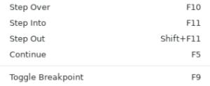 Visual Studio Code Debugging Shortcuts