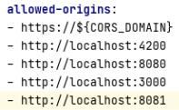 Adding origin to security.allowed-origins to application.yaml